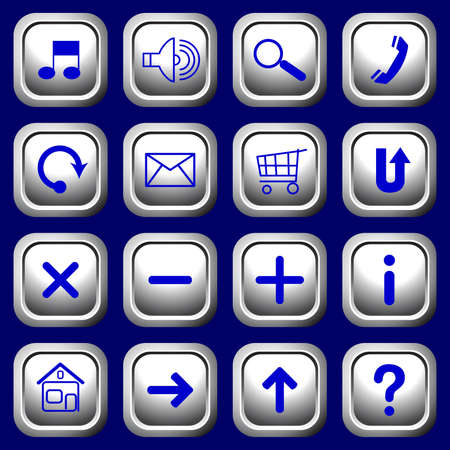 White square buttons with blue symbols. Vector.  Vector