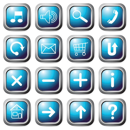 Aqua square buttons. Vector