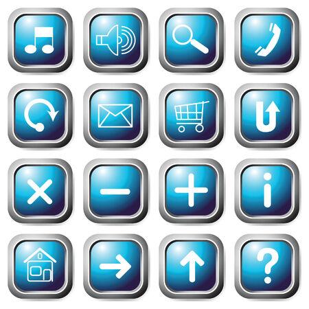 Aqua square buttons. Vector