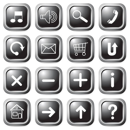 Black square buttons. Vector. Vector