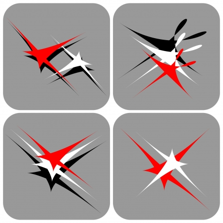 stars vector: Flying and dancing stars. Icons set.
