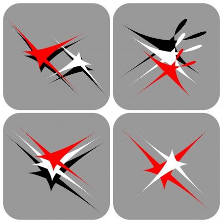 saludable logo: Flying estrellas y el baile. Iconos conjunto.