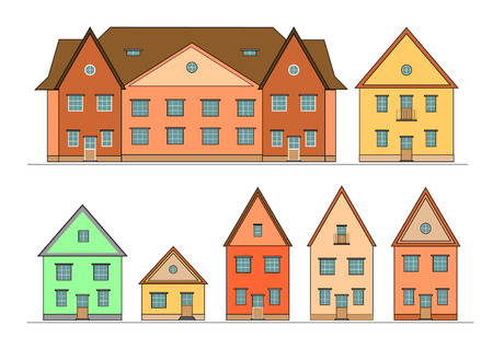 borough: Houses set. Vector editable illustration. Illustration
