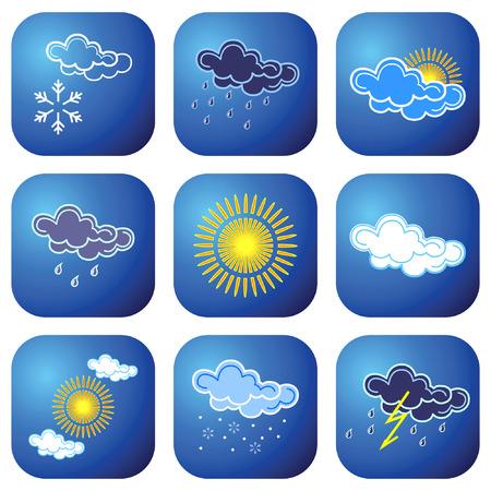 nebulosidade: Weather icons. Vector illustration. Ilustração