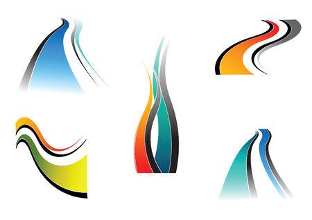 Design elements with wavy lines. Vector set. Vector