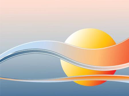 日没の背景。ベクトル編集可能なイラスト。