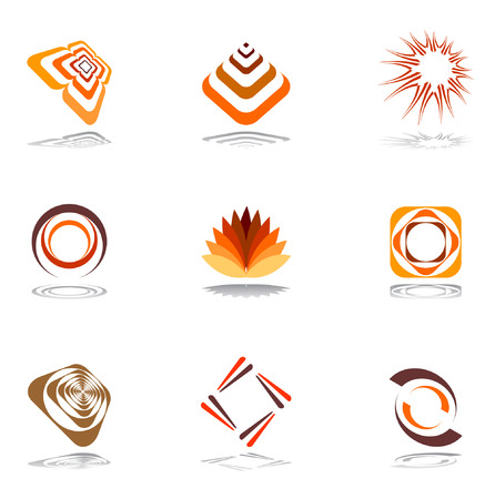 set square: Design elements in warm colors. Vector set 1. Illustration