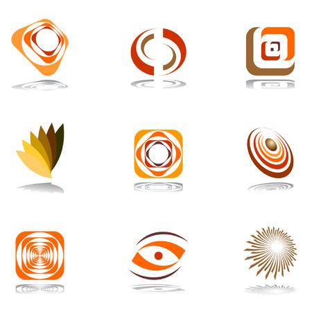 square logo: Design elements in warm colors. Vector set 2.