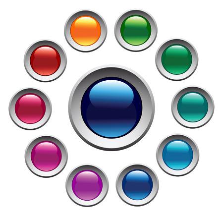 光沢のある色のボタン セット