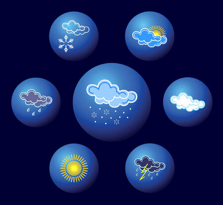 Weather icons. Vector illustration. Stock Vector - 6111307