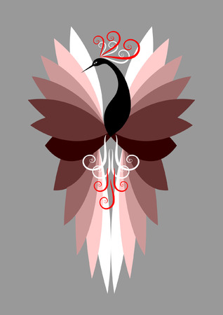 tail feathers: Decorative bird   illustration