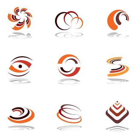colores calidos: Dise�ar elementos en colores c�lidos. Conjunto de 4. Vector.