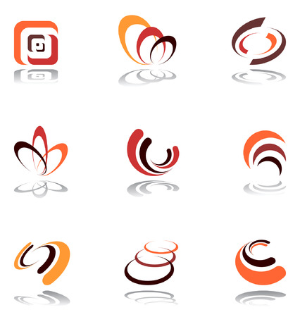 Design elements in warm colors. Set 5. Vector. Vector