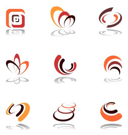 Design elements in warm colors. Set 5. Vector. Stock Vector - 6290292
