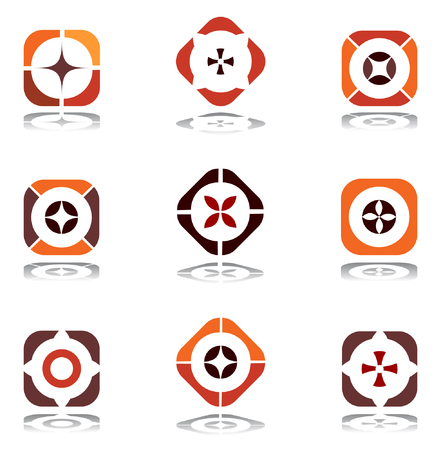 Design elements in warm colors. Set 6. Vector