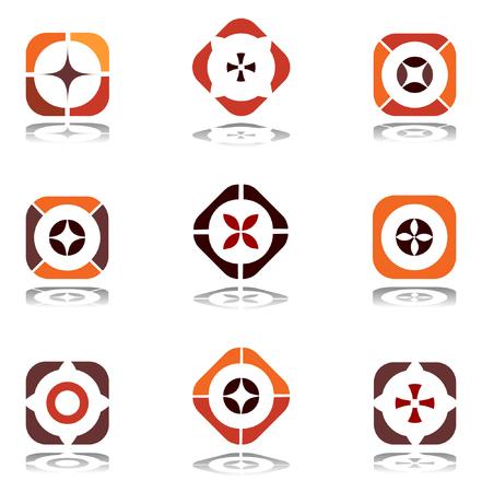 set square: Design elements in warm colors. Set 6. Illustration