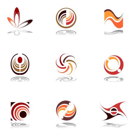 Design elements in warm colors. Set 9. Vector.