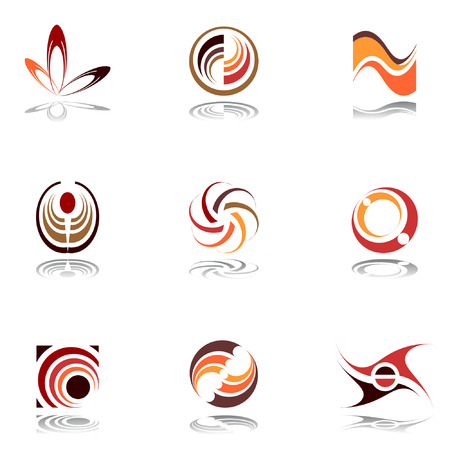 Design elements in warm colors. Set 9. Vector. Vector
