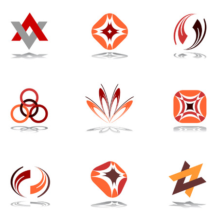 Design elements in warm colors. Set 10. Vector. Stock Vector - 6520847