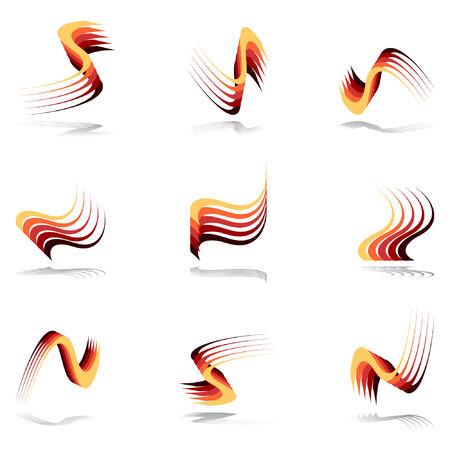 Design elements in warm colors. Set 11.  Vector