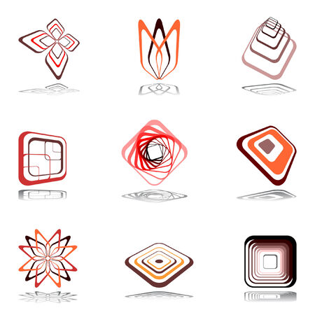 Design elements in warm colors. illustration. Stock Vector - 6882645