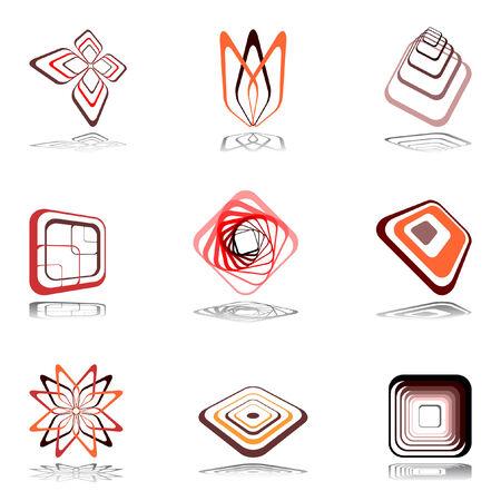 Design elements in warm colors. illustration. Vector