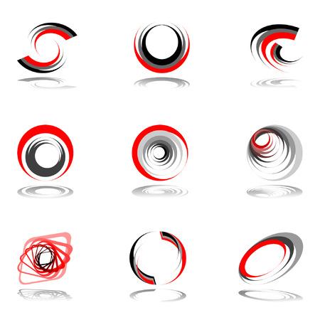 Design elements in red-grey colors. Vector illustration. Vetores