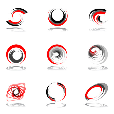rotation: Design elements in red-grey colors. Vector illustration. Illustration