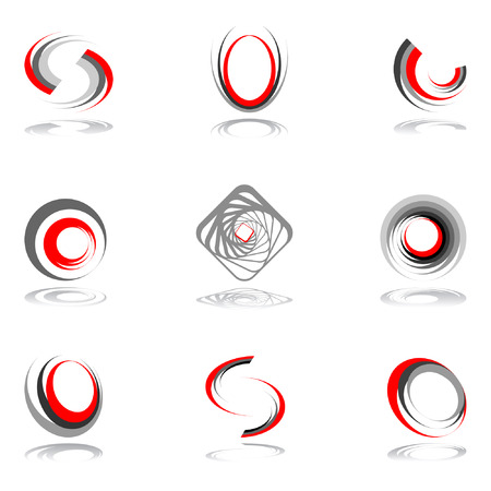 Design elements in red-grey colors #2.  illustration. Vector
