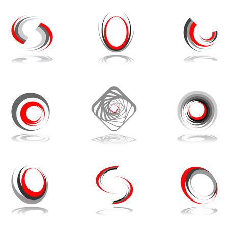 Revolution: Design elements in red-grey colors #2.  illustration.
