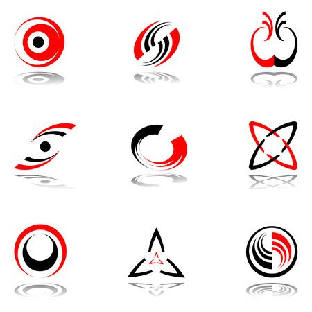 spirale: Design-Elemente in den Farben rot-grau