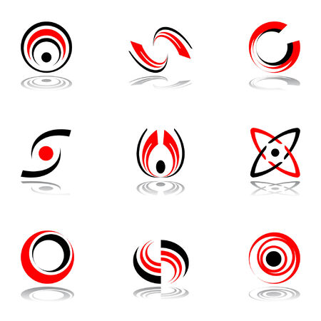 simple logo: Design elements in red-and-black colors #4. Vector illustration.
