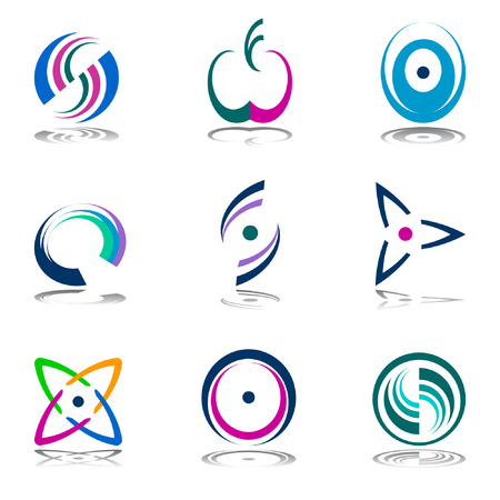 bobina: Elementos de dise�o de color. Iconos abstractos.
