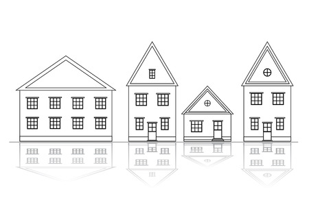 borough: Houses set. Outlined view.  Illustration