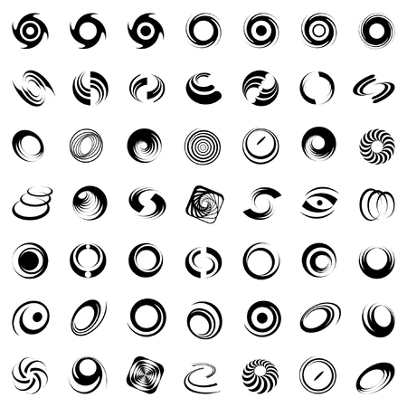 Spiral movement and rotation. 49 design elements  Vector