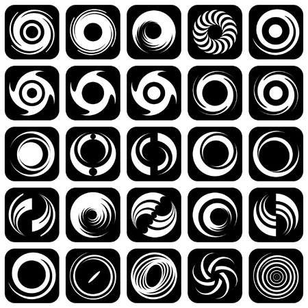 rotation: Spiral movement and rotation. Design elements set.  Illustration
