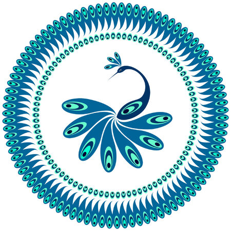 Peacock. Decorative pattern for plate. Vector art.