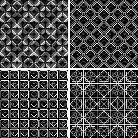 Seamless geometric checked designs set.  Vector