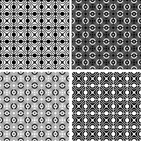 intersect: Seamless checked crisscross patterns set. Vector illustration. Illustration