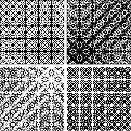 checked: Seamless checked crisscross patterns set. Vector illustration. Illustration