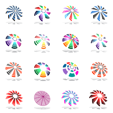red fan: Design elements set with rotation. Vector illustration.
