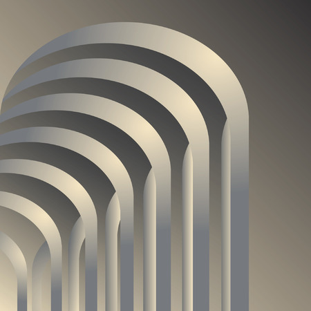 Arches gallery. Abstract architectural space background. illustration. Vector