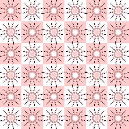 Seamless checked pattern with dots design. Vector illustration. Vector