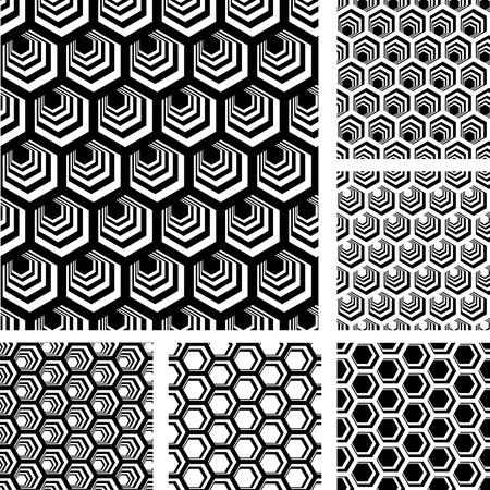 シームレスな幾何学模様。六角形の要素を持つデザインを設定します。  イラスト・ベクター素材