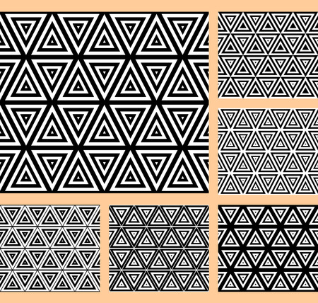 triangular shape: Seamless geometric patterns with triangular cells. Set. Illustration