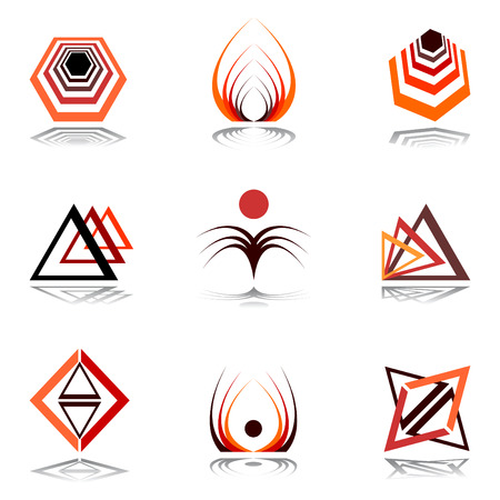triangle shape: Design elements in warm colors.