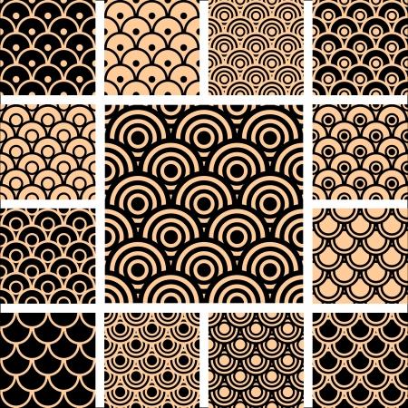シームレスな幾何学模様。デザインは円形の要素を設定します。  イラスト・ベクター素材