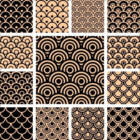 Seamless geometric patterns. Designs set with circle-shaped elements. Vector