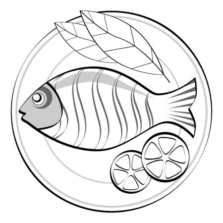 fried: Fish on a plate.  Illustration