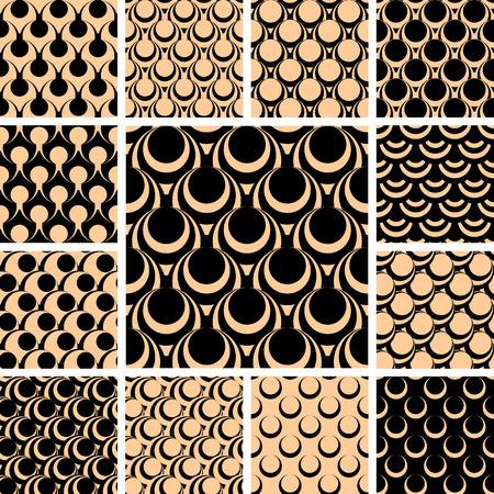 Seamless patterns set. Vector illustration. Ilustrace